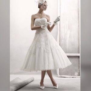 Oleg Cassini Strapless Tea Length Wedding Dress 12